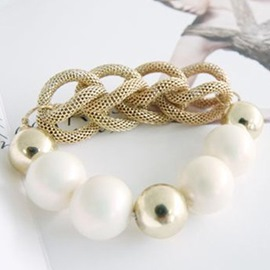 Ericdress Metal Weave Beaded Bracelet