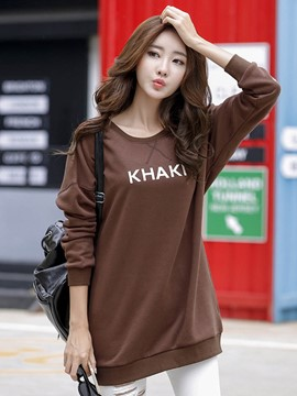 Ericdress Loose Solid Color Letters Printed T-Shirt