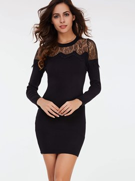 Ericdress Lace See-Through Patchwork Bodycon Dress