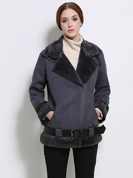 Ericdress Solid Color Turn-Down Fleece Coat