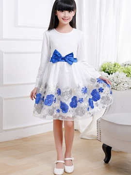 Ericdress Floral Print Bow Long Sleeve Girls Dress