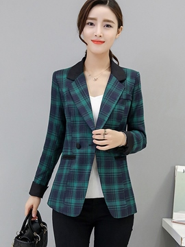 Ericdress Color Block Slim Plaid Polo Blazer