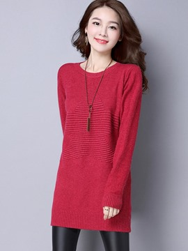 Ericdress Solid Color Mid-Length Pullover Knitwear