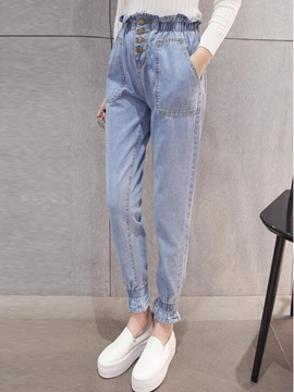 Ericdress Pleated Pocket Knickerbockers Jeans