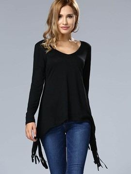 Ericdress Black Tassel V-Neck T-Shirt