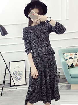 Ericdress Long Sleeve Sweater Falbala Pleated Skirt Suit