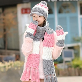 Ericdress Lovely Color Block Hat & Scarf & Gloves