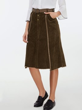 Ericdress Corduroy Patchwork Usual Skirt