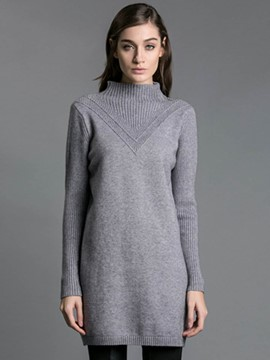 Ericdress Solid Color Mid-Length Simple Knitwear
