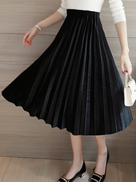 Ericdress Plain Color Pleated High-Waist Maxi Skirt