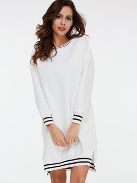 Ericdress Preppy Round Color Strip Above Knee Sweater Dress
