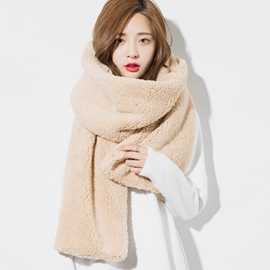 Ericdress Warm Furry Solid Color Scarf
