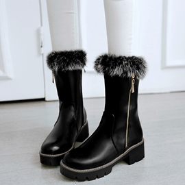 Ericdress PU Round Toe Furry Snow Boots