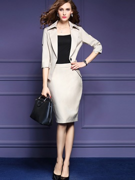 Ericdress One Button Jacket Bodycon Formal Suit