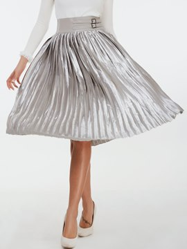 Ericdress Solid Color Pleated Knee-Length Skirt