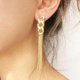 Ericdress Fashion Golden Chain Tassels Earrings