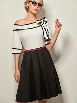 Ericdress Color Block Bowknot Patchwork Vintage Casual Dress
