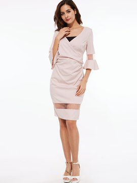 Ericdress Mesh Patchwork Flare Sleeve V-Neck Sheath Dress
