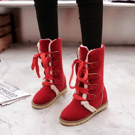 Ericdress Lovely Lace up Front Snow Boots
