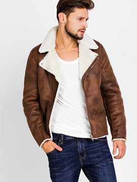 Ericdress Zip Faux Shearling Warm Vogue Men's Jacket