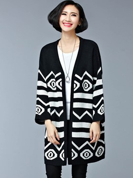 Ericdress Color Block Crochet Cardigan Knitwear