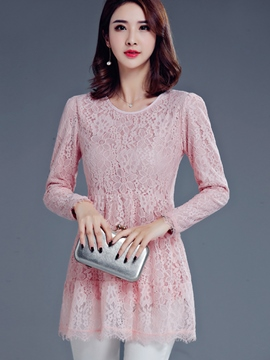 Ericdress Solid Color Long-Sleeve Slim Lace Blouse