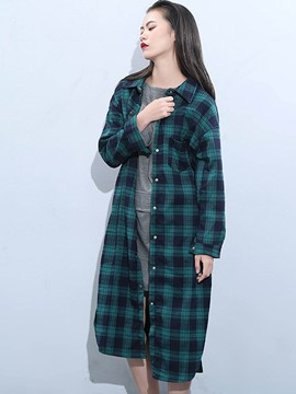 Ericdress Single-Breasted Plaid Long Blouse