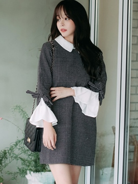 Ericress Petal Sleeve Lapel Patchwork Polka Dots Loose Casual Dress