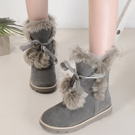 Ericdress Lovely Furry&pom Snow Boots