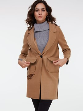 Ericdress Straight Solid Color Polo Coat