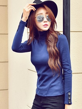 Ericdress Slim Solid Color T-Shirt