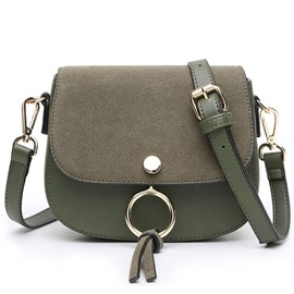 Korean Metal Circle Decorated Nubuck Leather Crossbody Bag