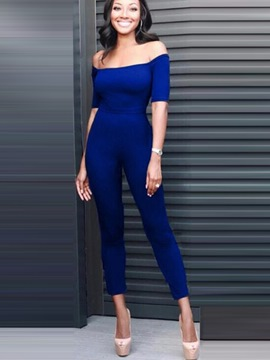 Ericdress Solid Color Strapless Skinny Jumpsuits Pants