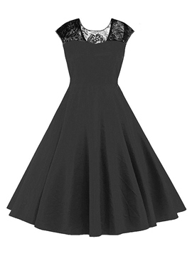 Ericdress Lace Patchwork Back V-Neck Pleated Patchwork Casual Dress