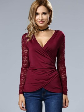 Ericdress Solid Color V-Neck Lace Patchwork T-Shirt