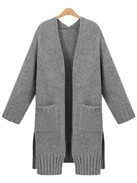 Ericdress Gray Casual Cardigan Knitwear