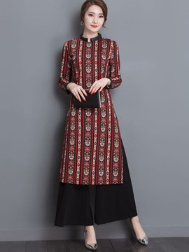 Ericdress Ethnic Asymmetric Wide Legs Pants Suit