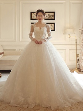 Ericdress Elegant V Neck Long Sleeves Ball Gown Wedding Dress