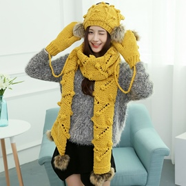 Ericdress Woolen Yarn Knitted Women's Hat & Scarf & Gloves