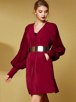 Ericdress Color Block Slim Lantern European Trench Coat