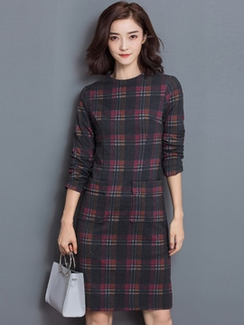 Ericdress Plaid Pocket Patchwork Knee-Length Casual Dress