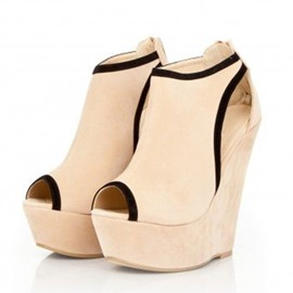 Ericdress Beige Peep Toe Wedge Sandals