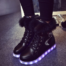 Ericdress Colorful LED PU Lace up Ankle Boots