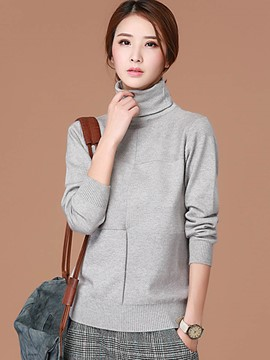Ericdress Turtle Neck Gray Pullover Knitwear