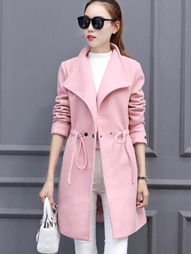 Ericdress Solid Color Slim One-Button Lace-Up Coat