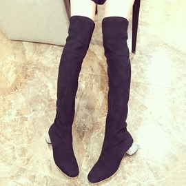 Ericdress Suede Rhinestone Thigh High Boots