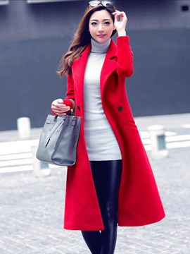 Ericdress Soloid Color Two-Button Slim Coat