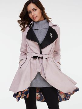Ericdress Slim Belt Color Block Trench Coat