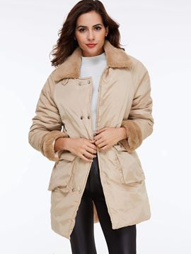 Ericdress Solid Color Loose Fleece Collar Coat