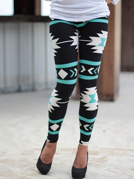 Ericdress Geometric Print Patchwork Leggings Pants